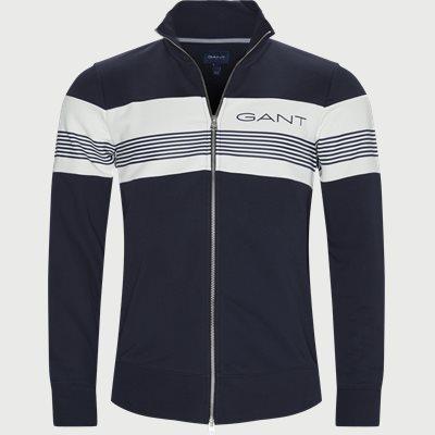 Stripe Zip Through Sweatshirt Regular | Stripe Zip Through Sweatshirt | Blå