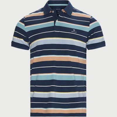 Multi Stripe Pique Polo T-shirt Regular | Multi Stripe Pique Polo T-shirt | Blå