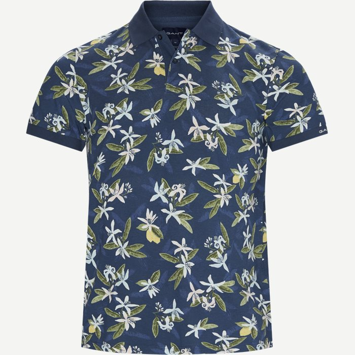 Lemon Flower print Pique Polo T-shirt - T-shirts - Regular - Blå