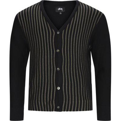 Stripe Cardigan Strik Regular fit | Stripe Cardigan Strik | Sort