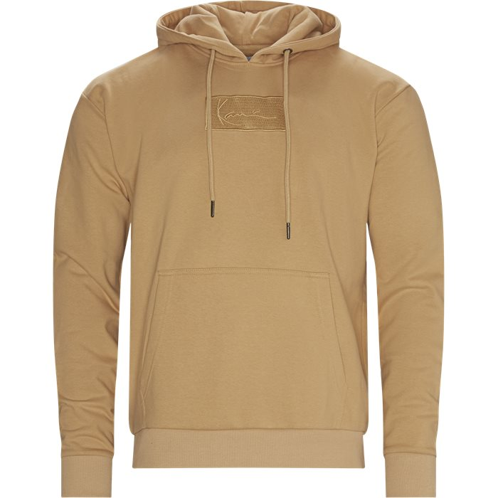 SMALL SINGATURE BOX Logo Hoodie  - Sweatshirts - Regular - Sand