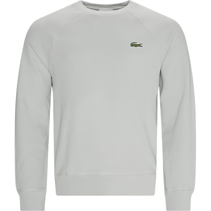 Organic Cotton Piqué Crew Neck Sweatshirt - Sweatshirts - Regular - Grå