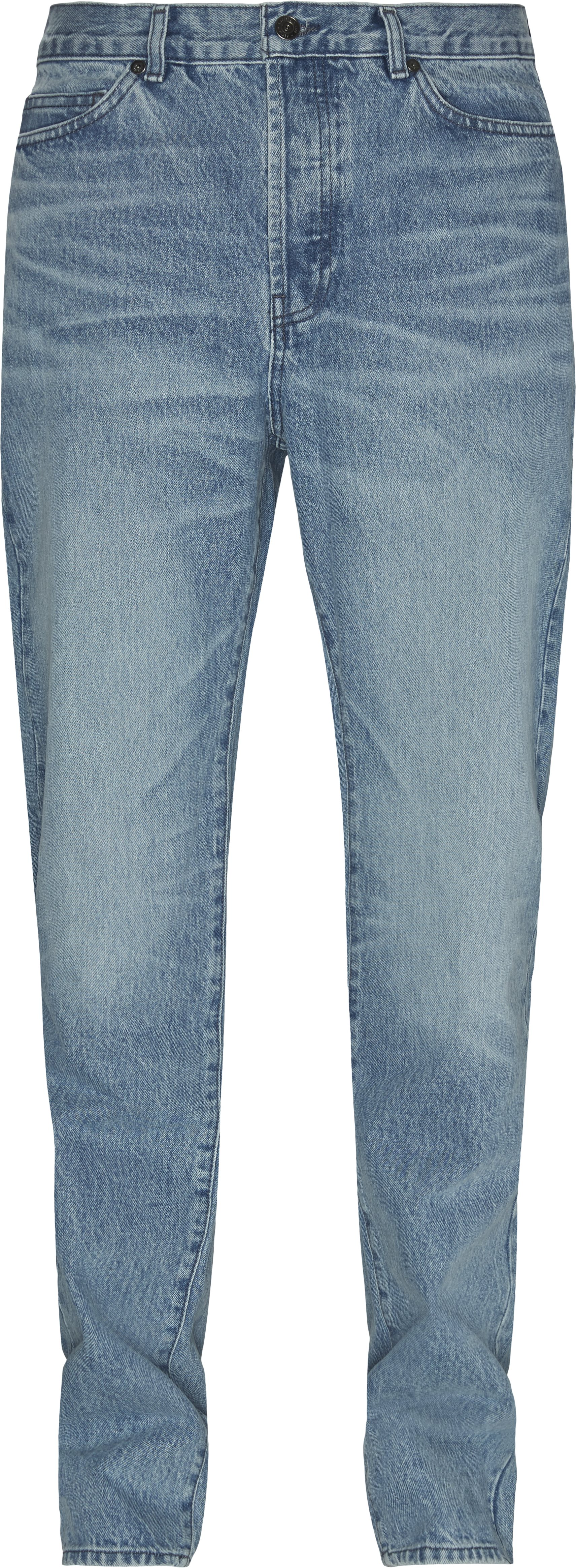 Five-Pocketed Faded Cotton Jeans - Jeans - Straight fit - Denim