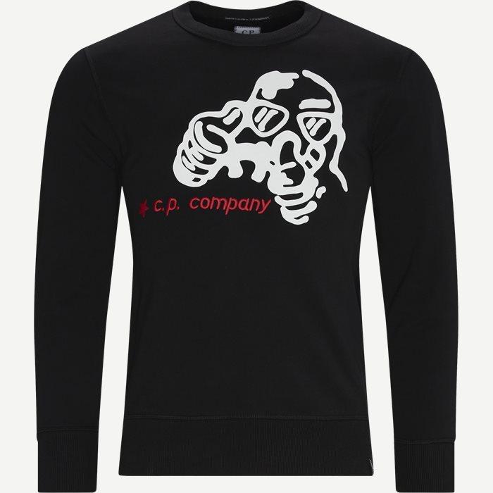 Brushed Fleece Cartoon Graphic Sweatshirt - Sweatshirts - Regular - Sort