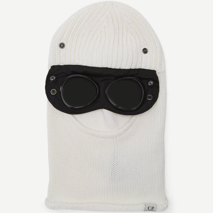 Wool Goggle Balaclava - Kepsar - Vit