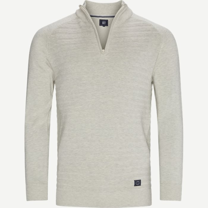 Sander Half Zip Sweater - Strik - Regular - Sand