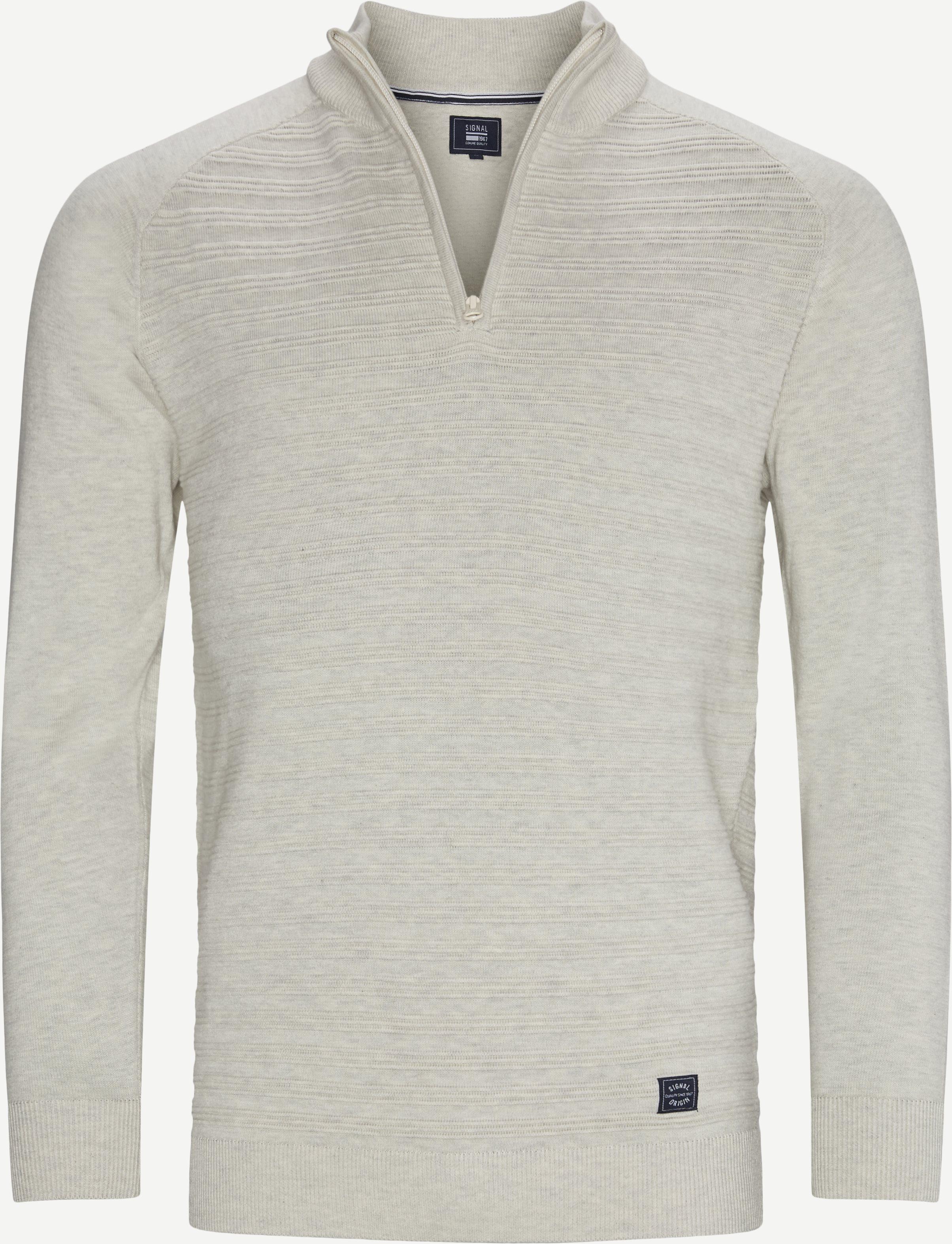 Sander Half Zip Sweater - Strik - Regular - Sand