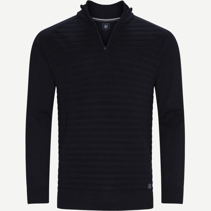 Sander Half Zip Sweater - Strik - Regular - Blå