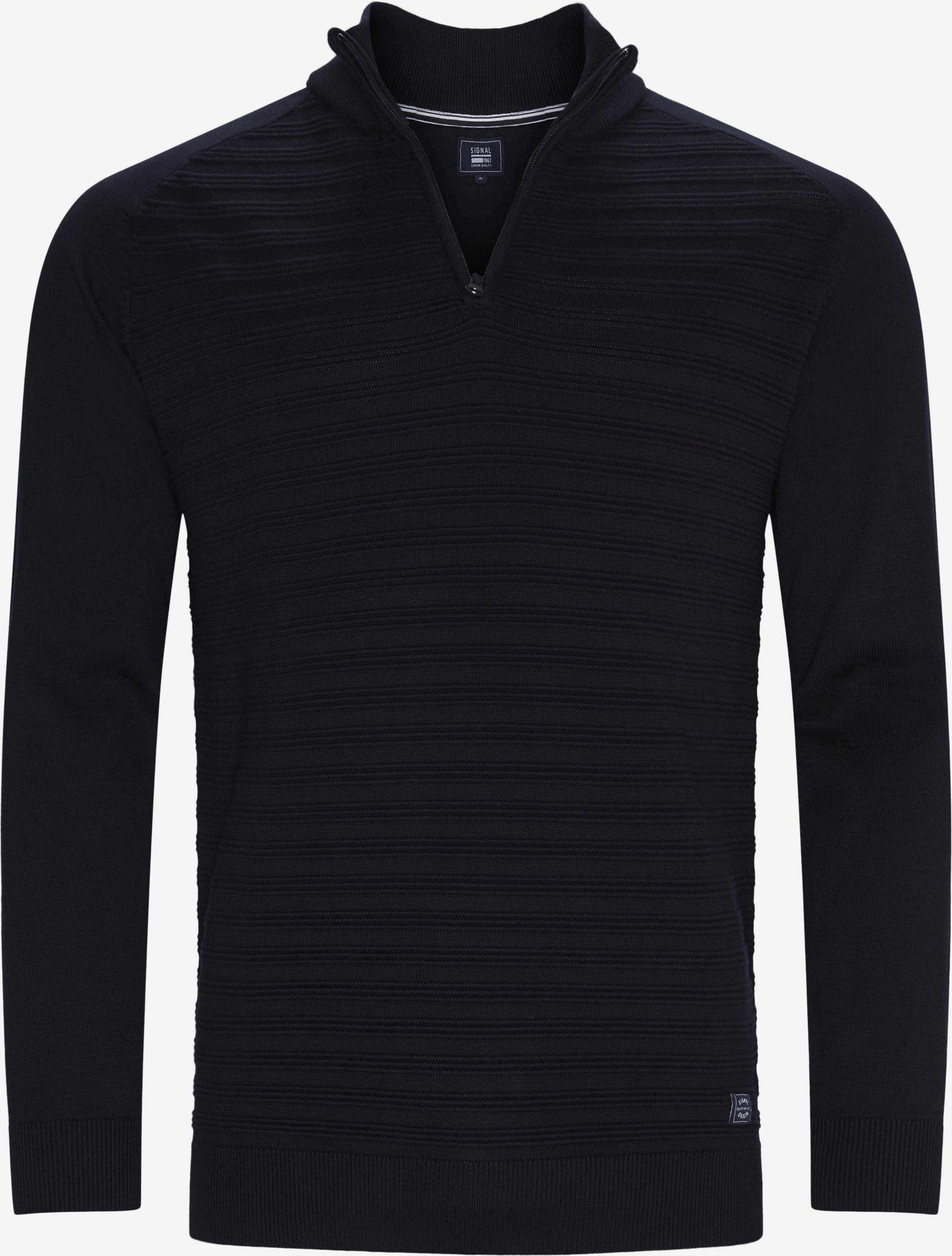 Sander Half Zip Sweater - Stickat - Regular - Blå
