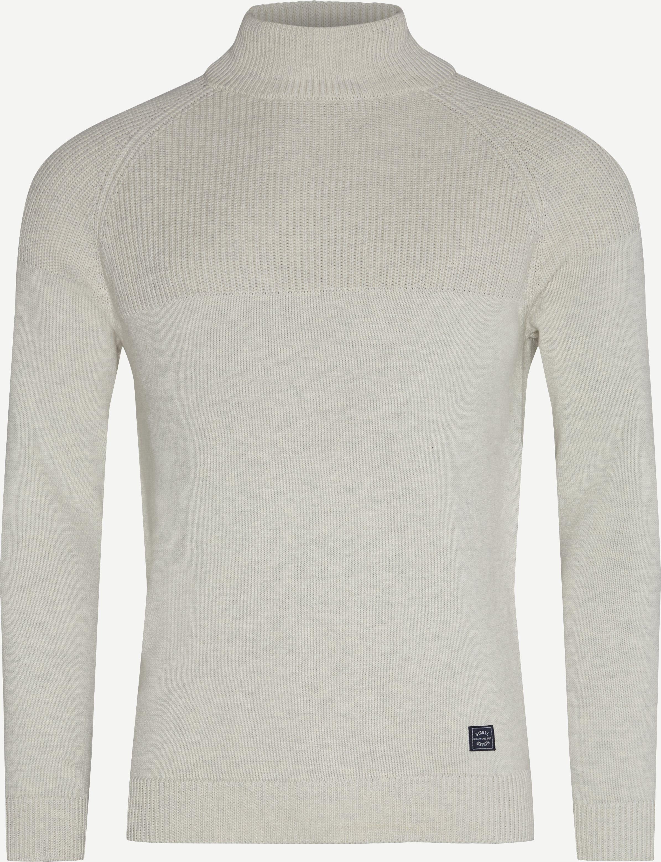 Taylor Mock Neck Sweater - Stickat - Regular fit - Sand