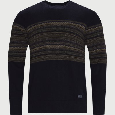 Torkel Jacquard Sweater Regular | Torkel Jacquard Sweater | Blå
