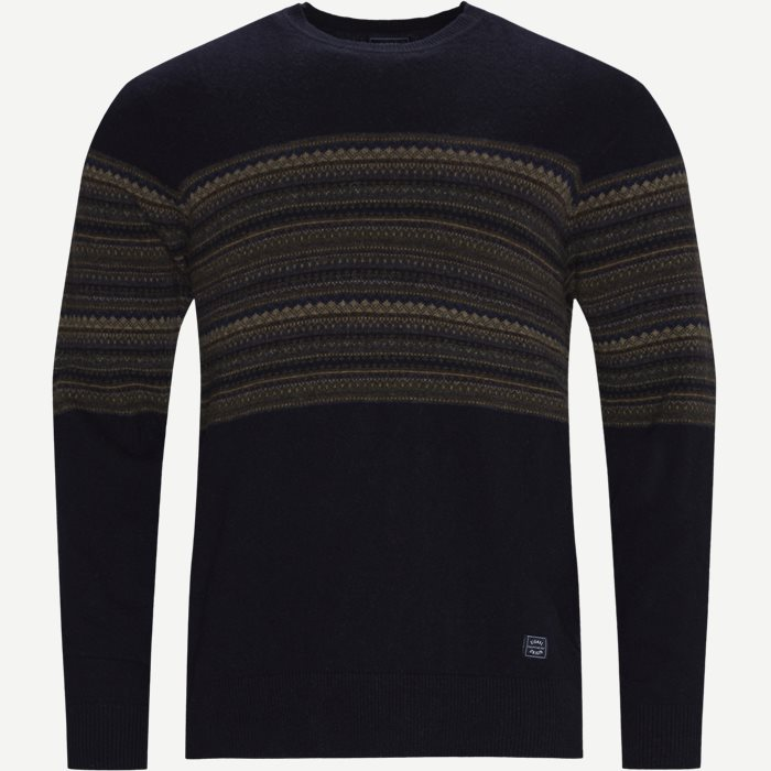 Torkel Jacquard Sweater - Strik - Regular - Blå