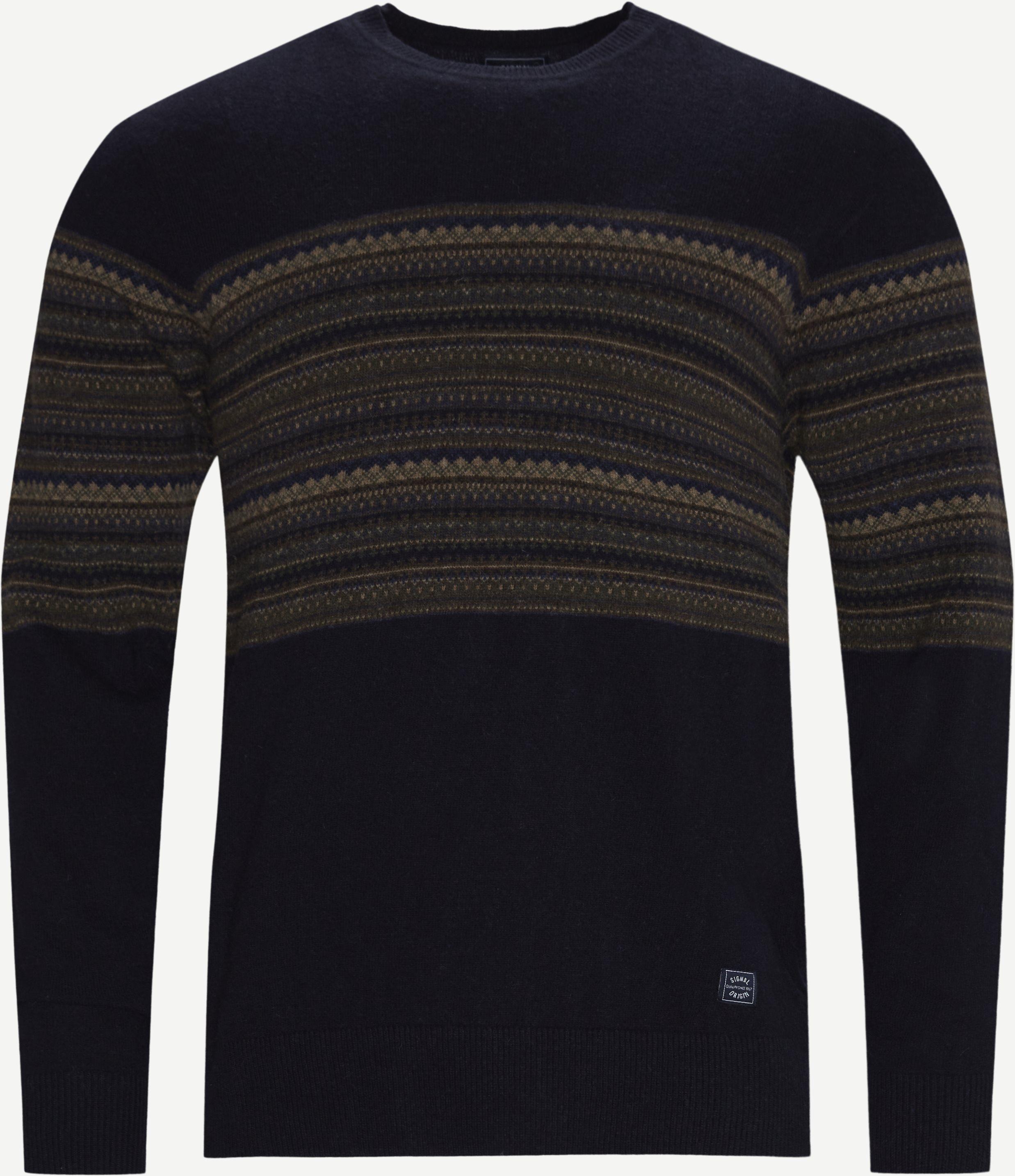 Torkel Jacquard Sweater - Stickat - Regular fit - Blå