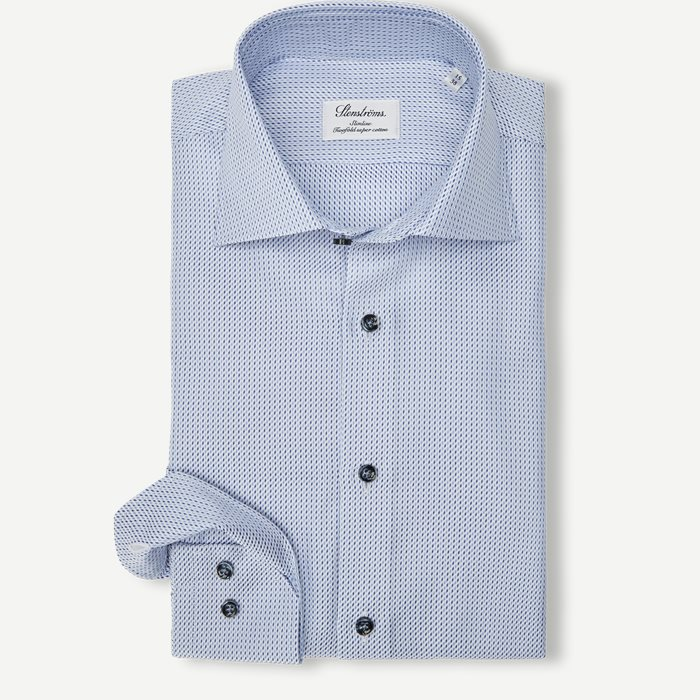 8074 Twofold Super Cotton Skjorte - Skjorter - Blå