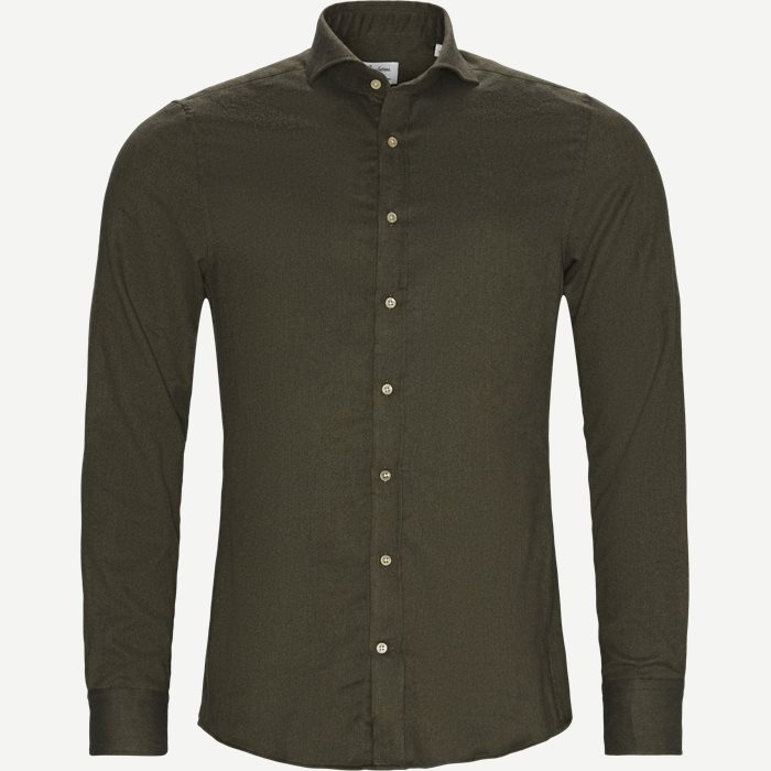 7635 Twofold Cotton Shirt - Skjorter - Grøn