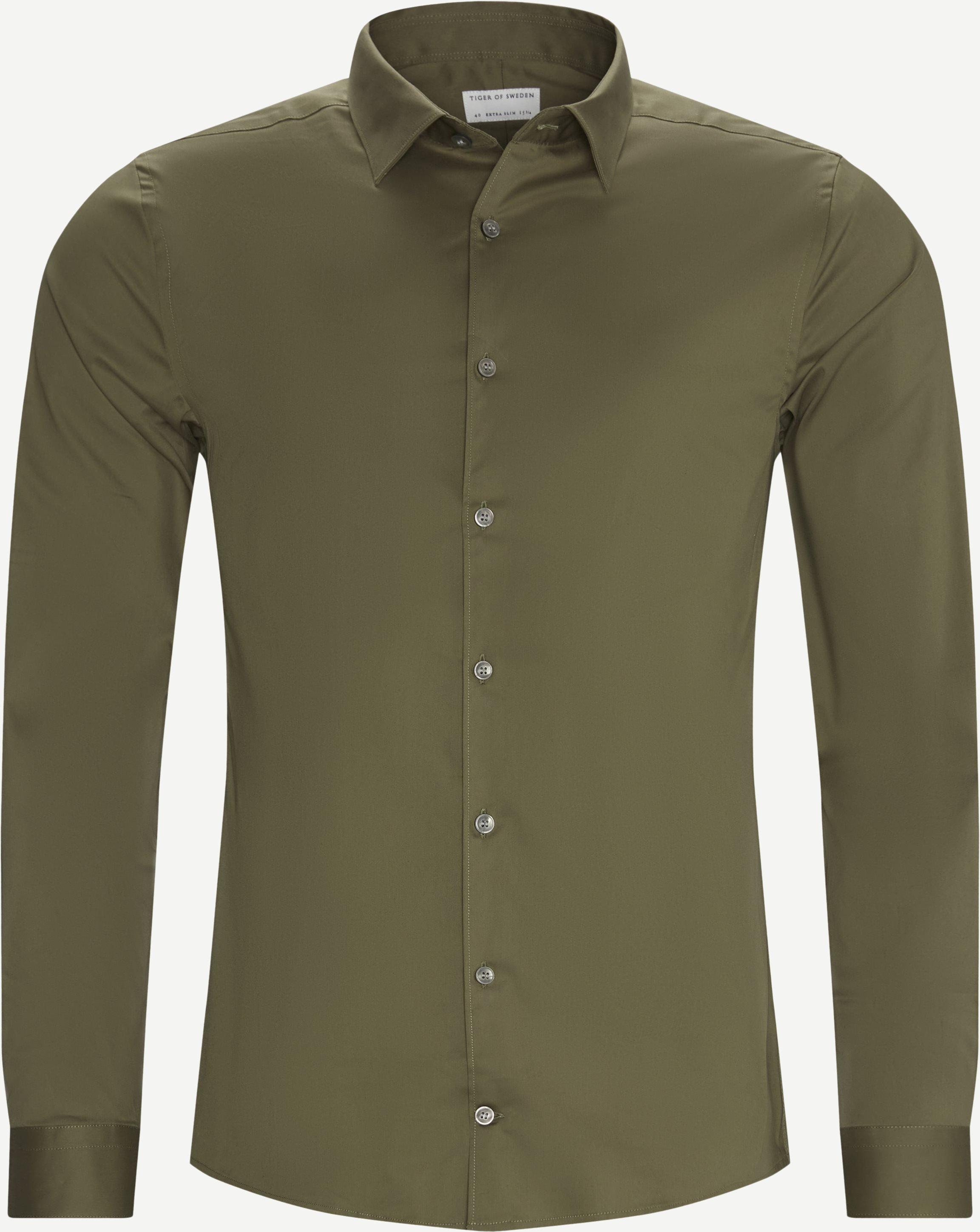 Hemden - Ekstra slim fit - Oliv