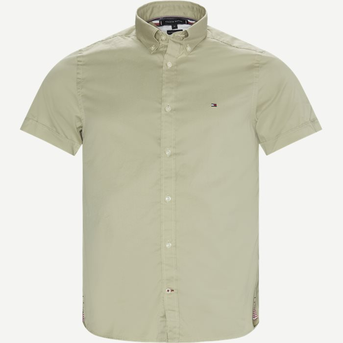 Slim Fine Twill Shirt S/S - Kortærmede skjorter - Slim - Sand