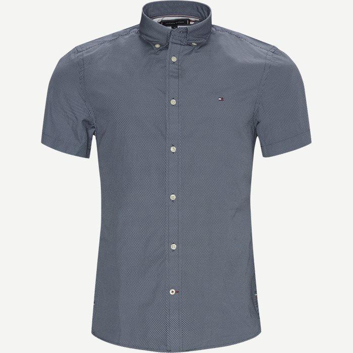 Essential Print Shirt SS - Kortærmede skjorter - Slim - Blå