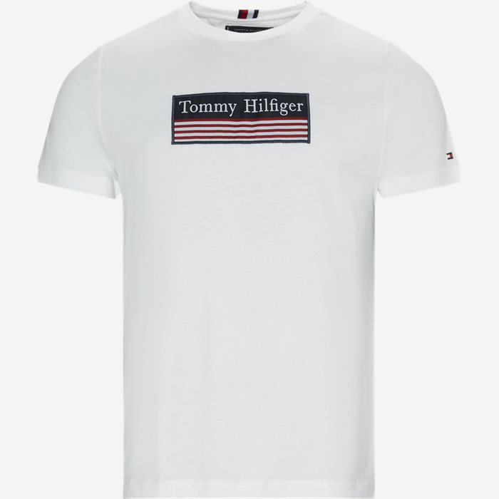 Striped Woven Label Tee - T-shirts - Regular - Hvid