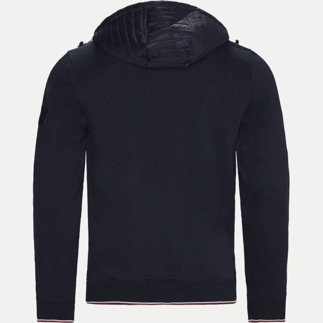 Mixed media Hooded Zip Through  Sweatshirt