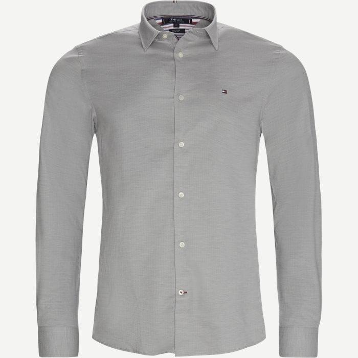Flex Herringbone Shirt - Skjortor - Slim - Grå