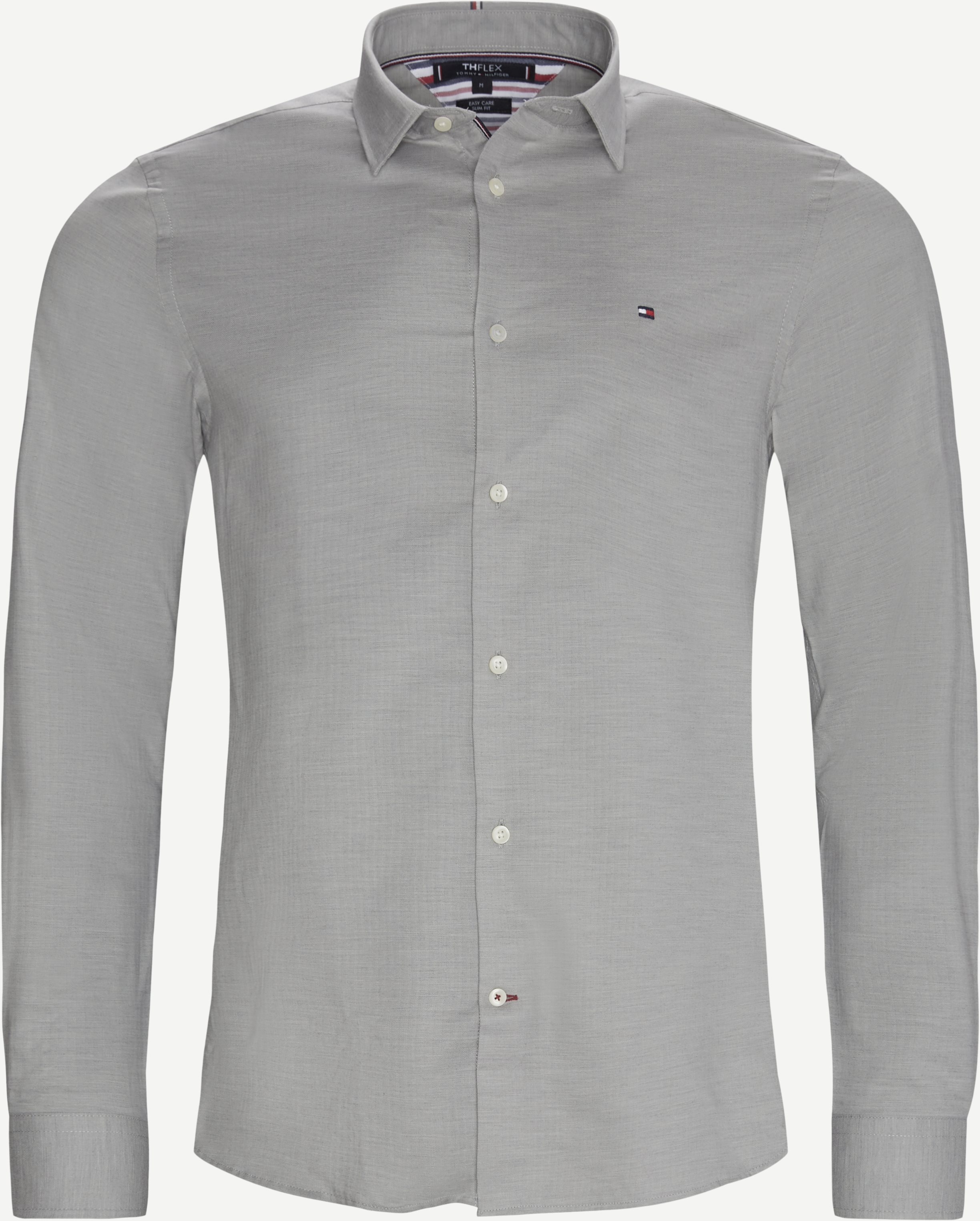 Flex Herringbone Shirt - Shirts - Slim - Grey