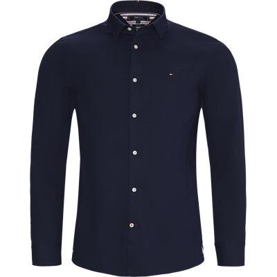 Flex Herringbone Shirt Slim   Flex Herringbone Shirt   Blå