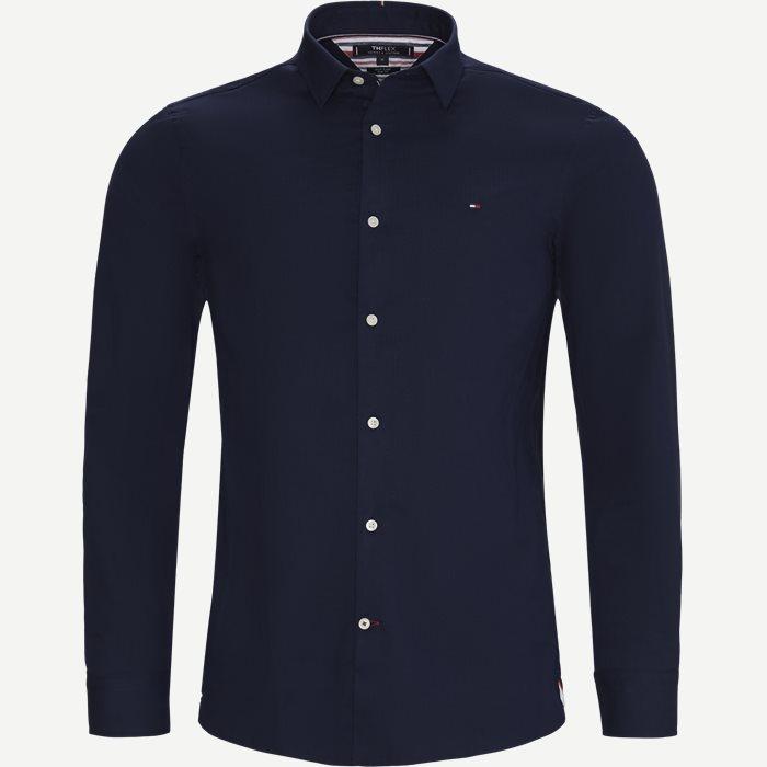 Flex Herringbone Shirt - Skjortor - Slim - Blå