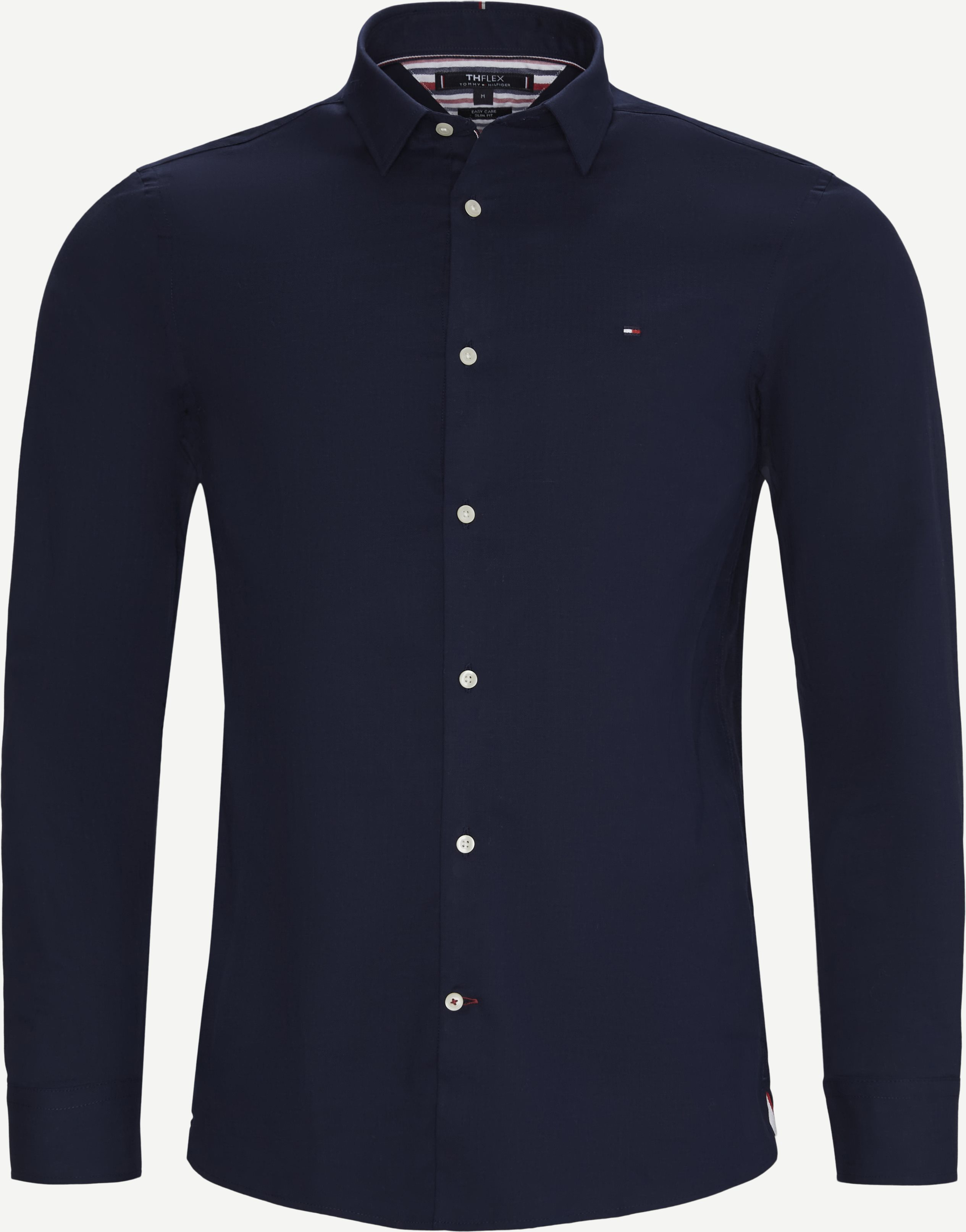 Flex Herringbone Shirt - Shirts - Slim - Blue