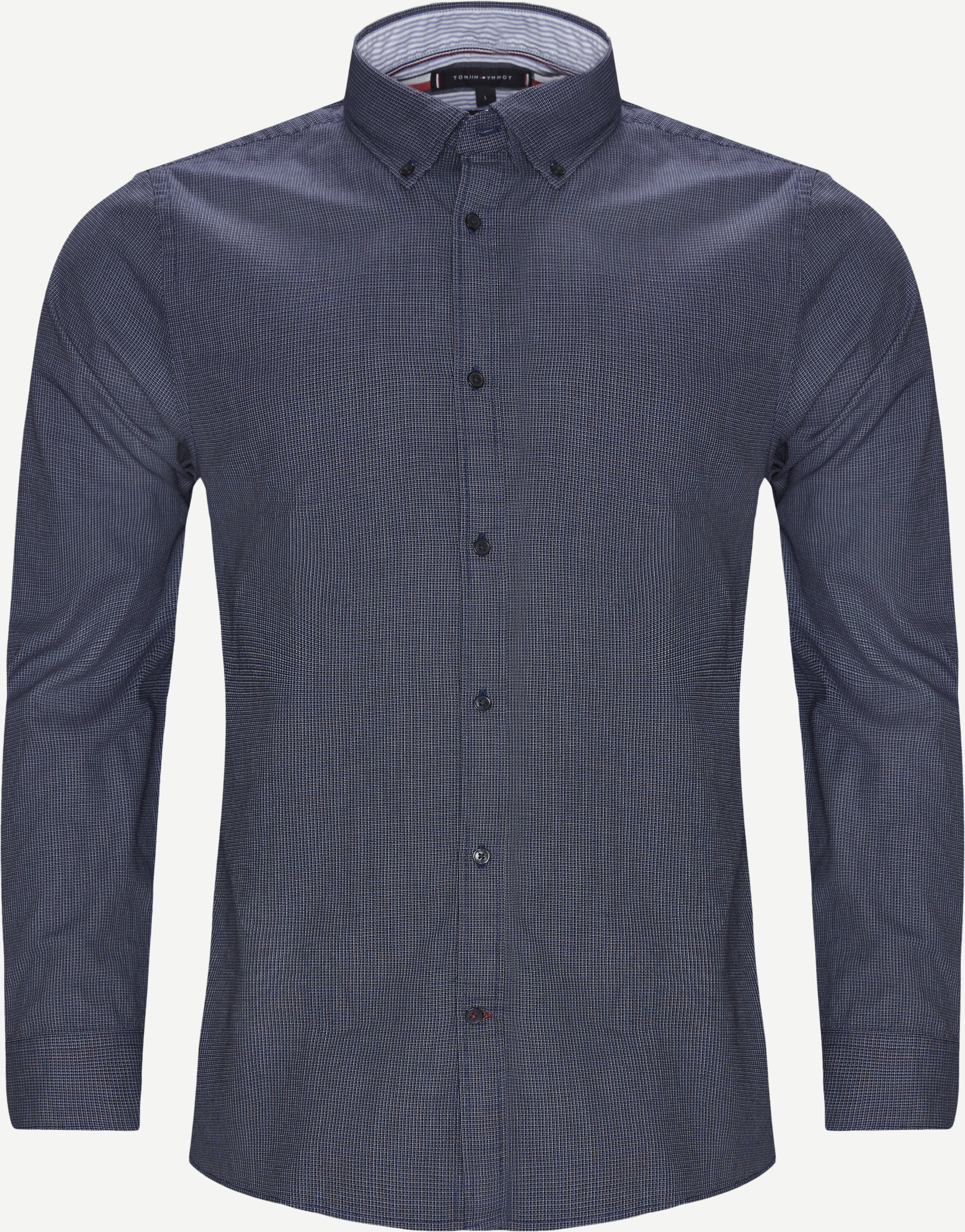 Textured Multi Dobby Shirt - Shirts - Slim - Blue