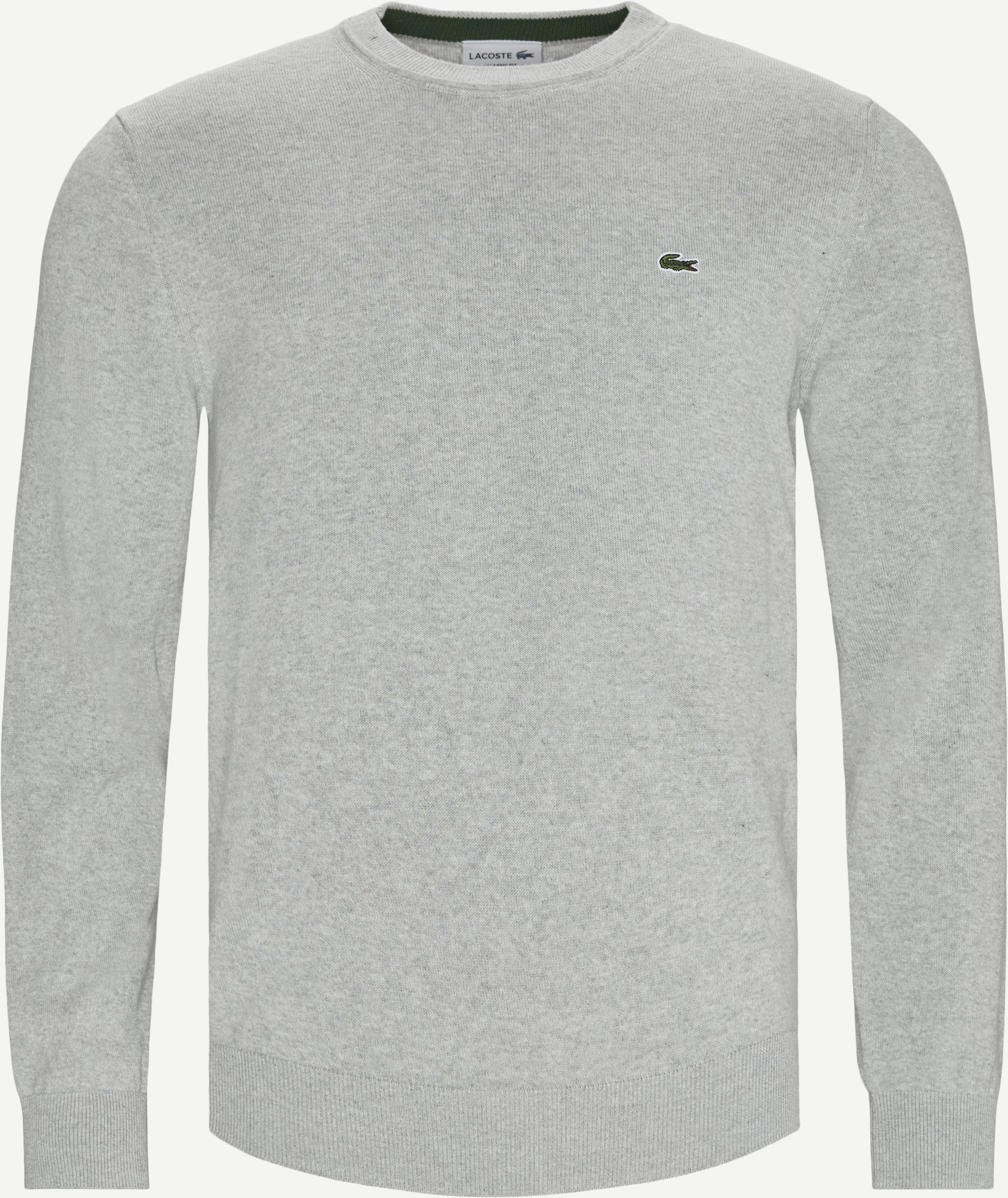 Crewneck Cotton Sweater - Strik - Regular - Grå