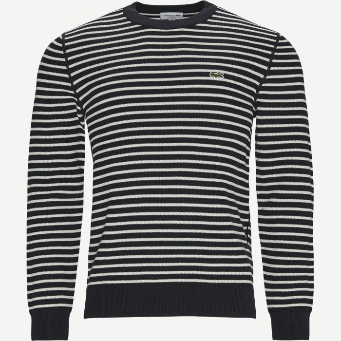 Striped Organic Cotton Crew Neck Sweater - Strik - Regular - Blå