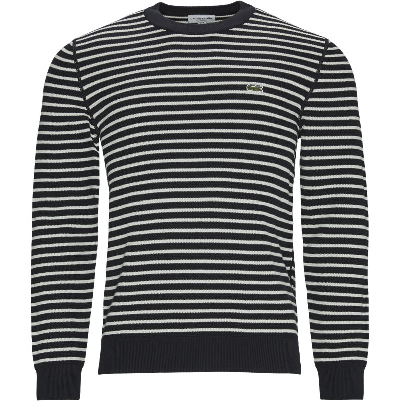 lacoste Lacoste - striped organic cotton crew neck sweater fra kaufmann.dk