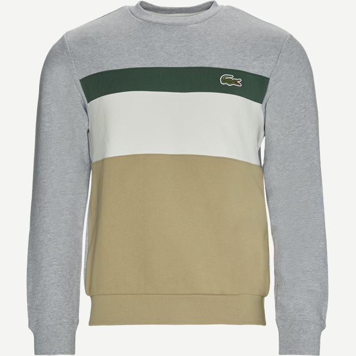 Colourblock Fleece Crew Neck Sweatshirt - Sweatshirts - Regular - Grå