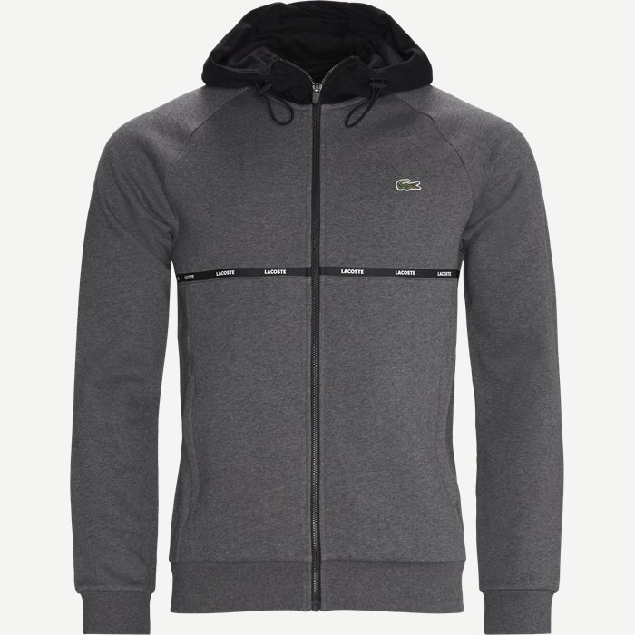 Hooded Two-Tone Fleece Zip Sweatshirt - Sweatshirts - Regular - Grå