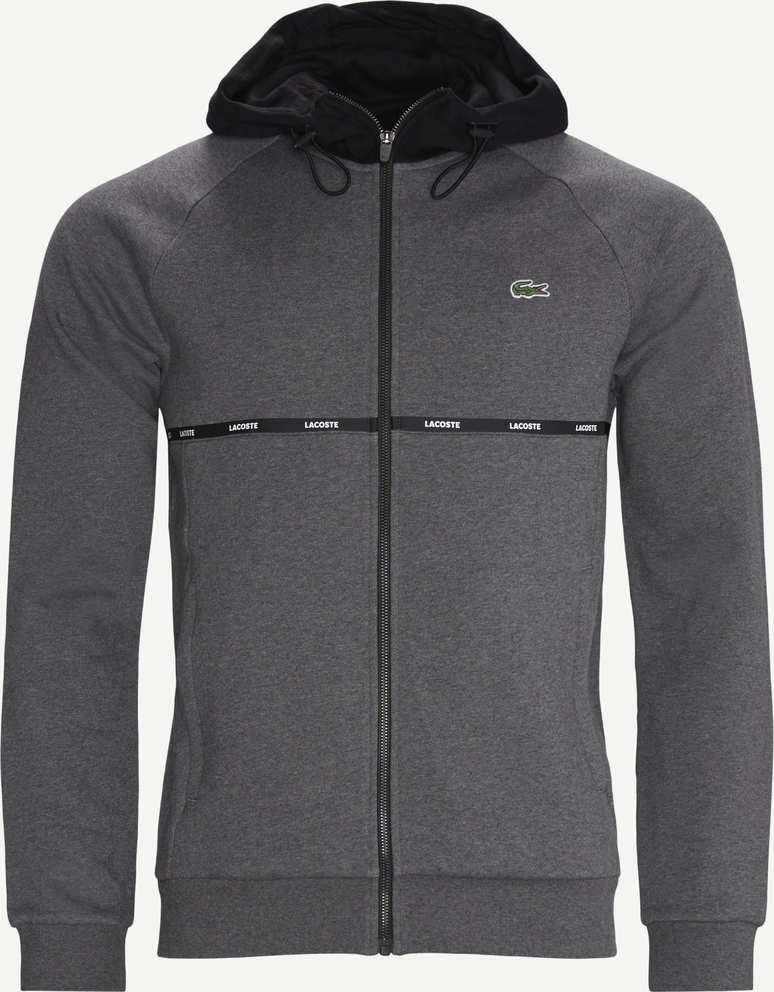 Hooded Two-Tone Fleece Zip Sweatshirt - Sweatshirts - Regular - Grey