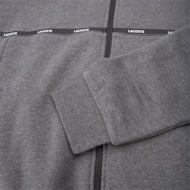 Hooded Two-Tone Fleece Zip Sweatshirt