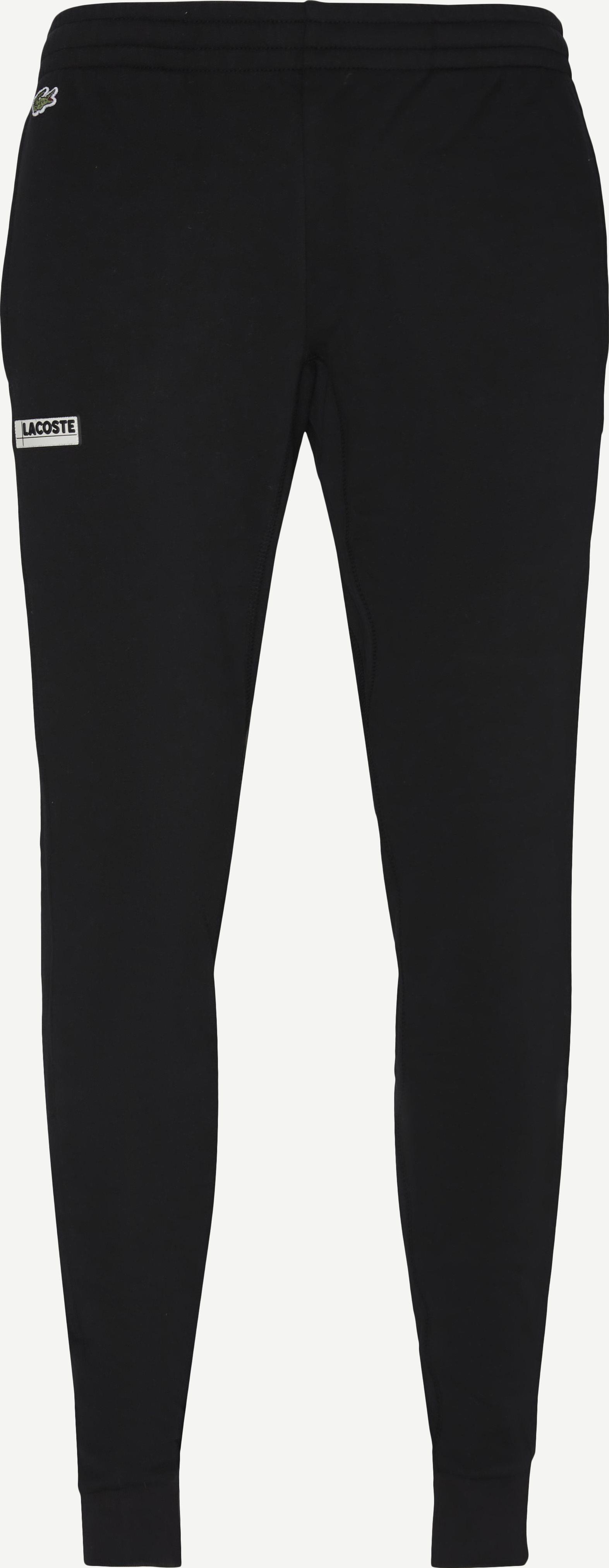 Badge Fleece Jogging Pants - Trousers - Regular - Black