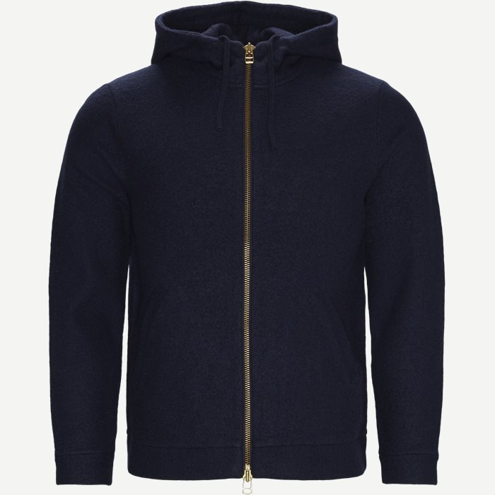 Boiled Wool Hoodie 6 - Stickat - Regular - Blå