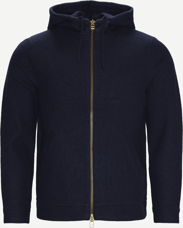 Boiled Wool Hoodie 6 - Stickat - Regular - Blå