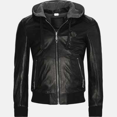 Leather Bomber Hoodie Jacket Regular | Leather Bomber Hoodie Jacket | Sort