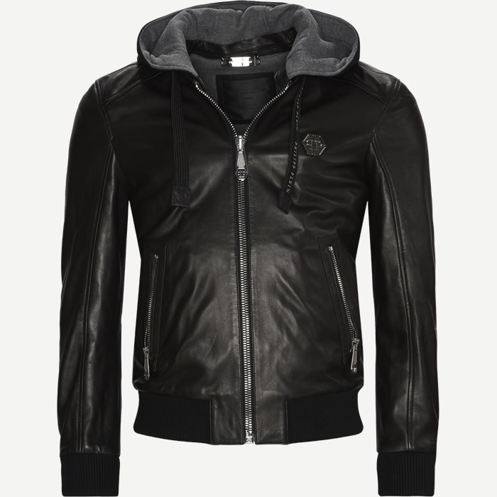 Leather Bomber Hoodie Jacket - Jackor - Regular - Svart