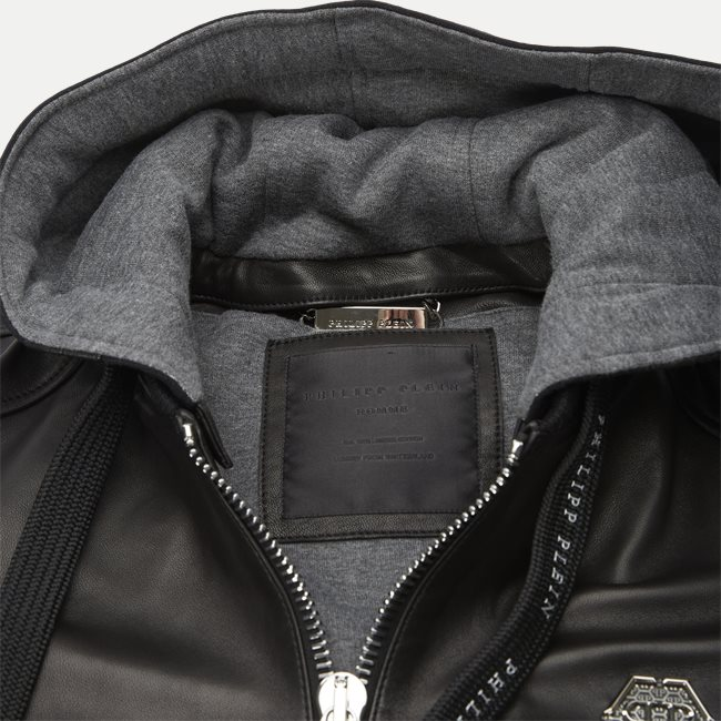 Leather Bomber Hoodie Jacket