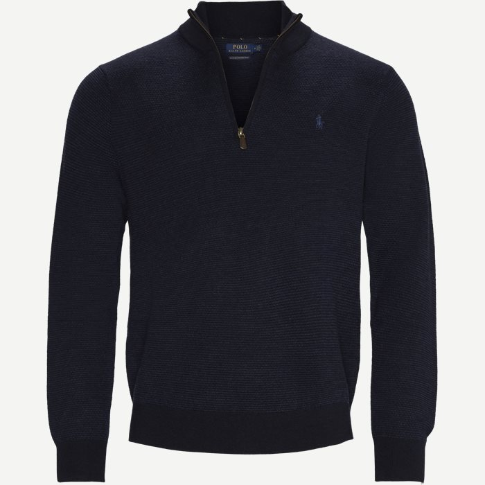 Wool Half-Zip Jumper - Strik - Regular - Blå