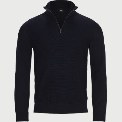 Madan Half-Zip Striktrøje Regular | Madan Half-Zip Striktrøje | Blå