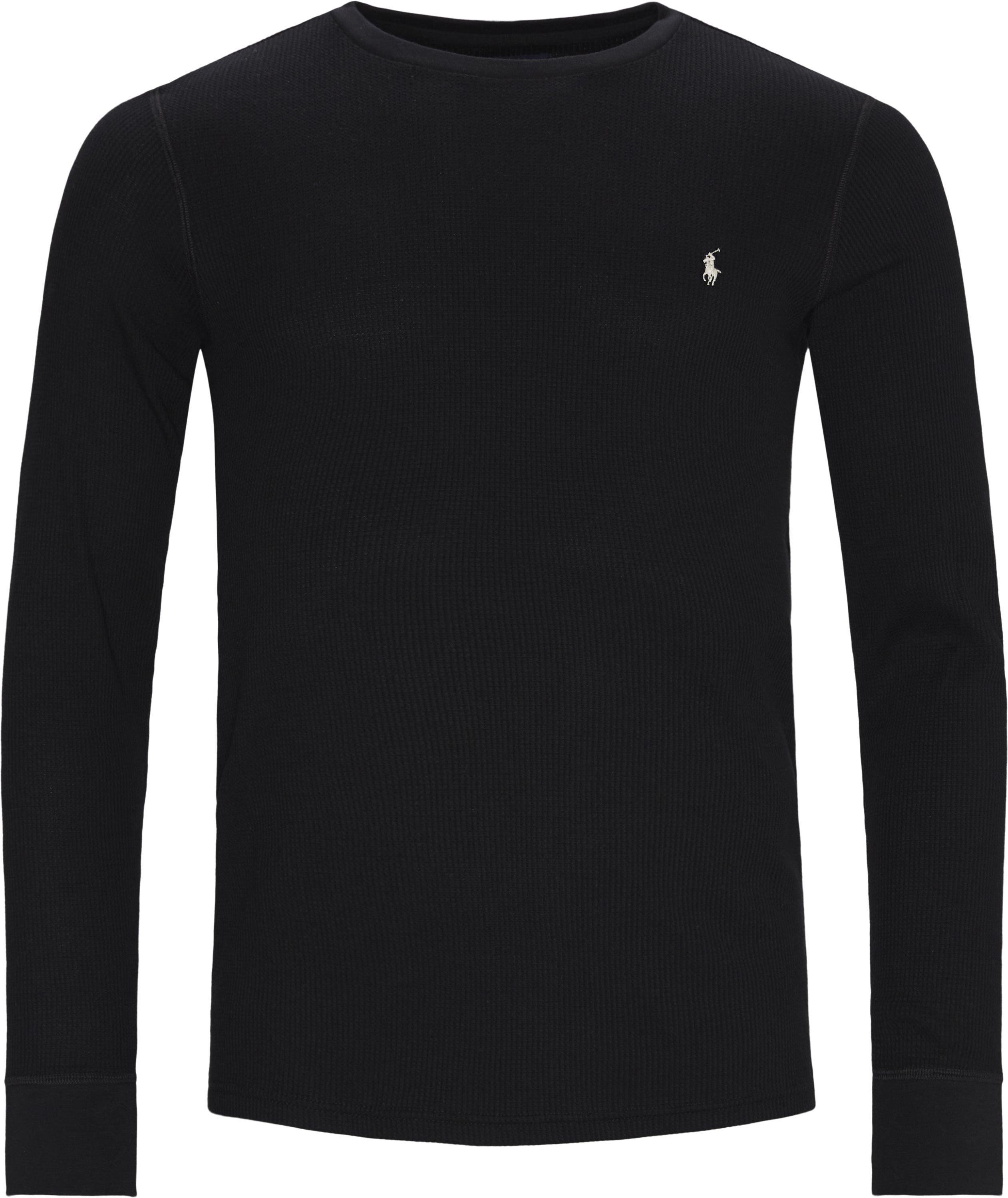 Waffle Crew Neck Long Sleeve - T-shirts - Regular - Black