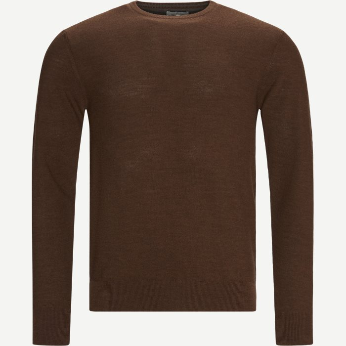 Crew Neck Striktrøje - Strik - Regular - Brun