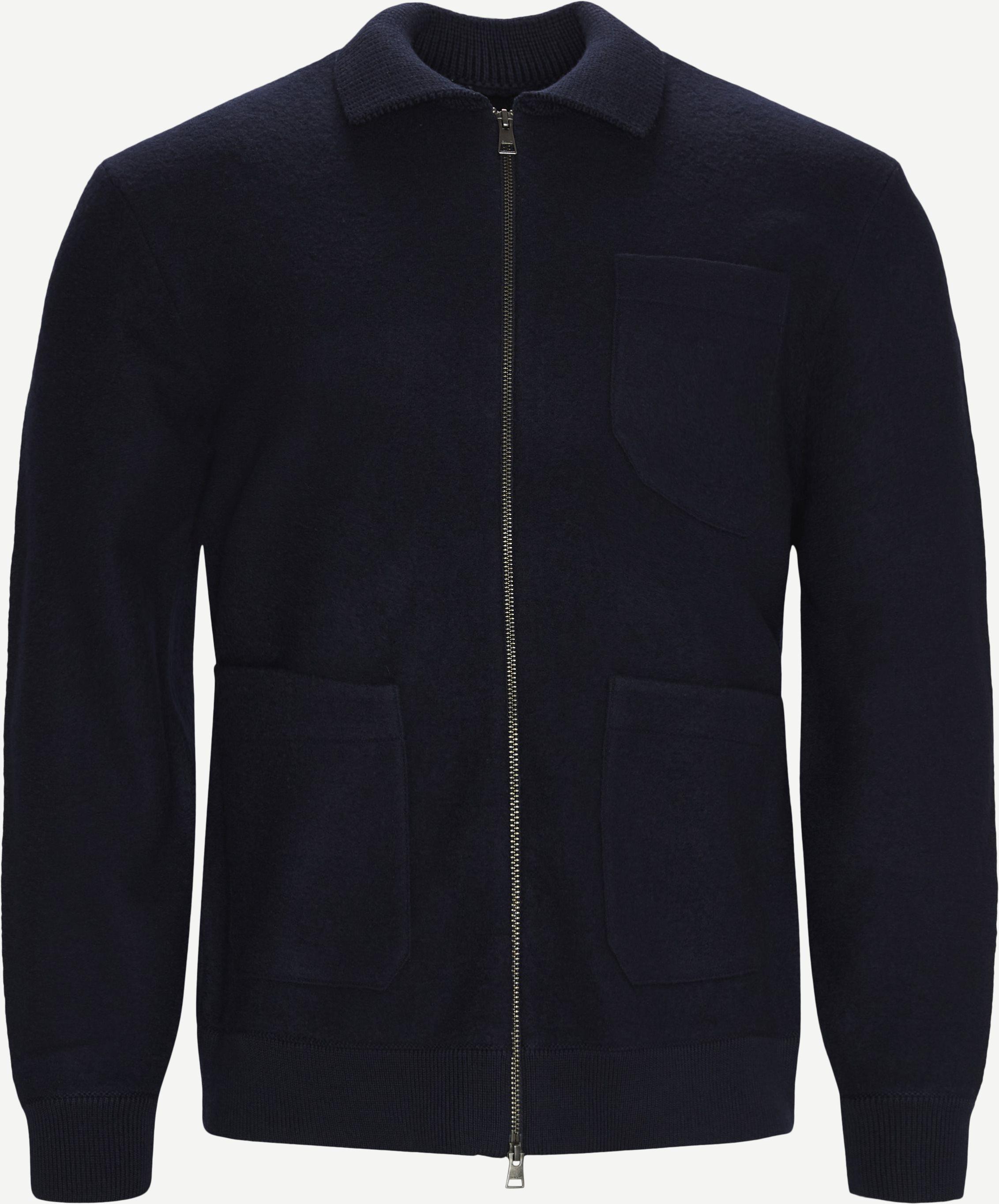 Boiled Knitted Jacket - Jackor - Regular - Blå