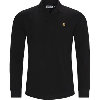 CHASE PIQUE Langærmet Polo Tshirt Regular   CHASE PIQUE Langærmet Polo Tshirt   Sort