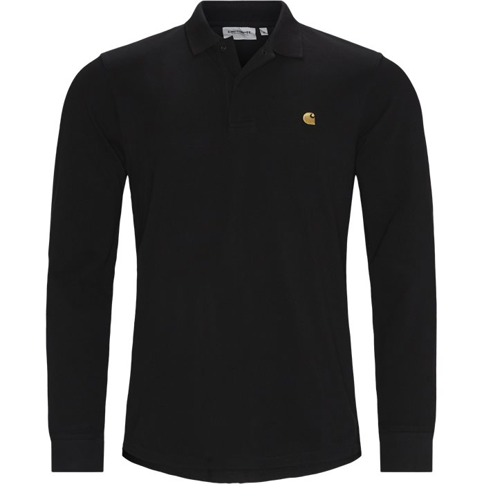 CHASE PIQUE Langærmet Polo Tshirt - T-shirts - Regular - Sort